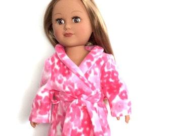 18 Inch Doll Robe, Pink Floral Bathrobe, Spa Robe, 18 Inch Doll Clothes