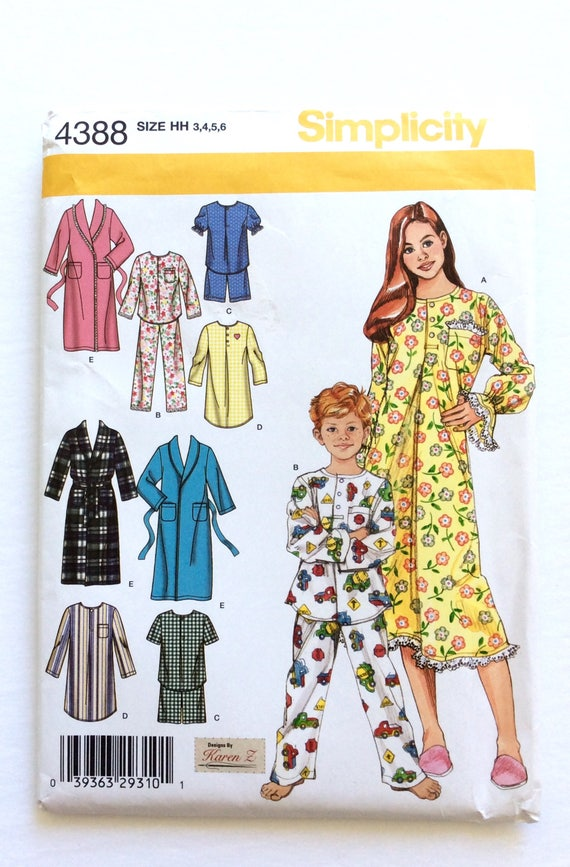 b1aa4acf8c Simplicity 4388 Girl s and Boys  Pajamas Nightshirt