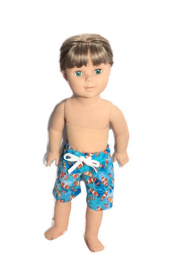 Clown Fish Swim Trunks for 18 Inch Boy Doll Boardshorts Doll Shorts