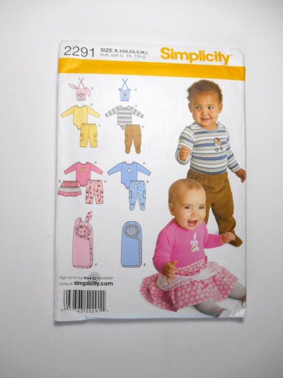 Simplicity 2291 Baby Pants Skirt Bibs Knit Bodysuit | Etsy