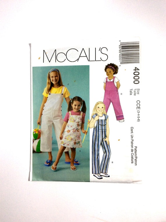 McCall\'s 4000 Girls\' Jumper Overalls Jumpsuit | Etsy