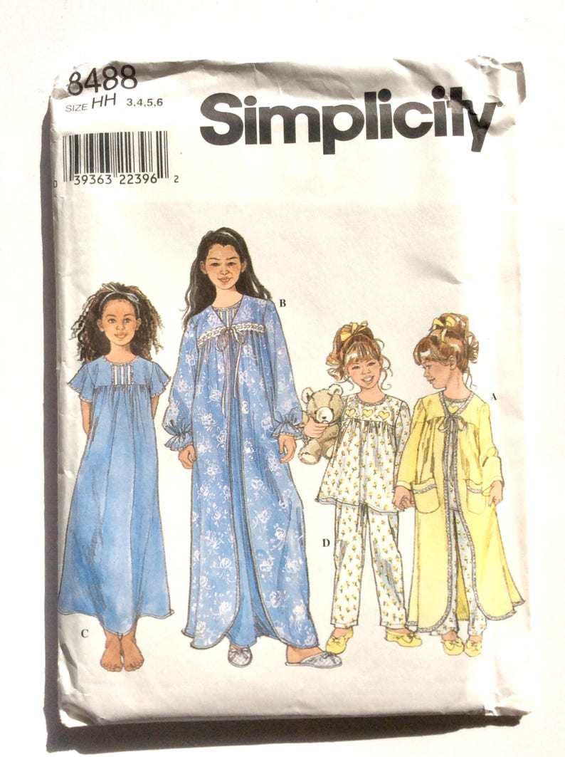 afa9f0ef6f Simplicity 8488 Girl s Robe Pajamas Nightgown Pattern