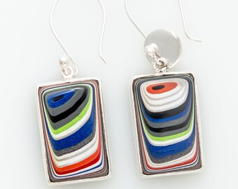 Fordite Jeep Dangle Earrings, Sterling Silver & Nickel Free, Double Sided, Gift for Women, Jeep Lover, Grad Gift, Gift Box included, Auto