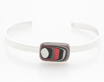 Fordite Jeep Bangle, Sterling Silver & Nickel Free, Gift for Women, Jeep Lover, Grad Gift, Gift Box included