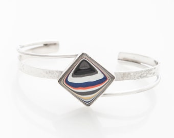 Fordite Jeep Bangle, Sterling Silver & Nickel Free, Hammered and Smooth, Gift for Women, Jeep Lover, Grad Gift, Gift Box included