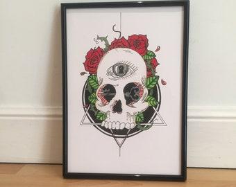 Print Skull Roses A4 Print