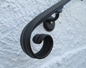 5 Ft. Wrought Iron Hand Rail Wall Rail Stair Step Railing Wall Mount Handrail Elegant Scroll Design