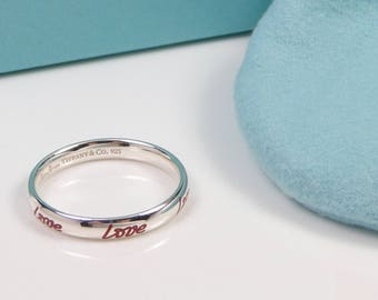 e70e0b70d NEW Tiffany & Co Picasso Graffiti Love Band Ring Silver and Red Enamel Size  5.5