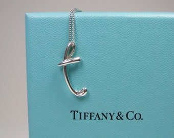 "d76d26ef2 Tiffany & Co Elsa Peretti Letter ""T"" Alphabet Pendant Necklace Sterling  Silver"