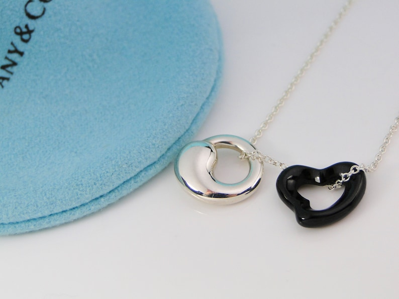 aa5f2a2191615 Tiffany & Co Peretti Black Jade Heart and Silver Eternal Circle Necklace 17  inch chain