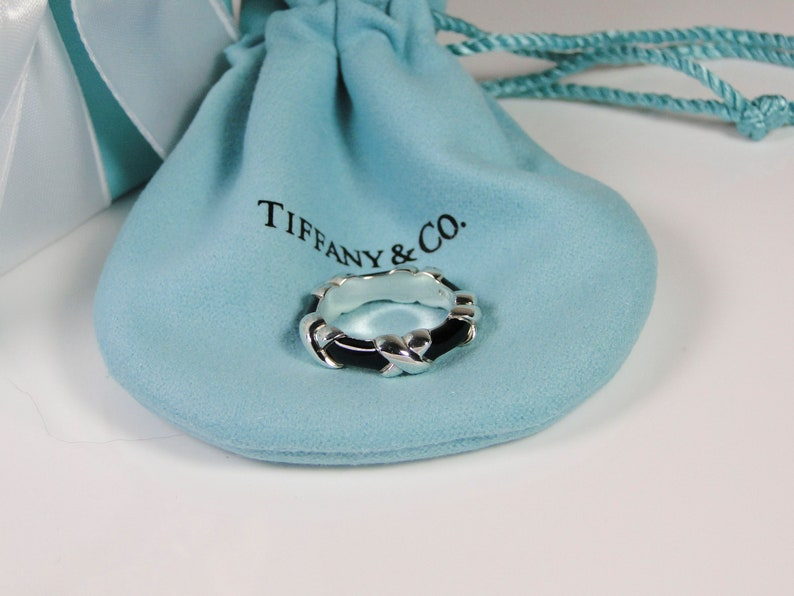 ba832cd3d7a66 Tiffany & Co. Signature X Black Enamel Ring Band MINT Size 4.5- Includes box