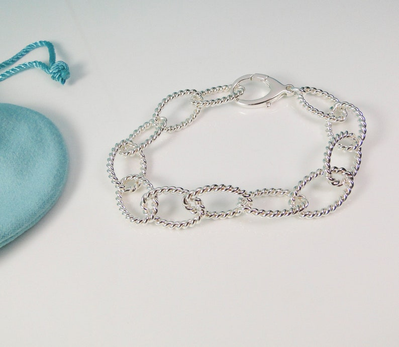 3ad726099 Tiffany & Co. Twist Sterling Silver 8.75 Oval Link Bracelet | Etsy