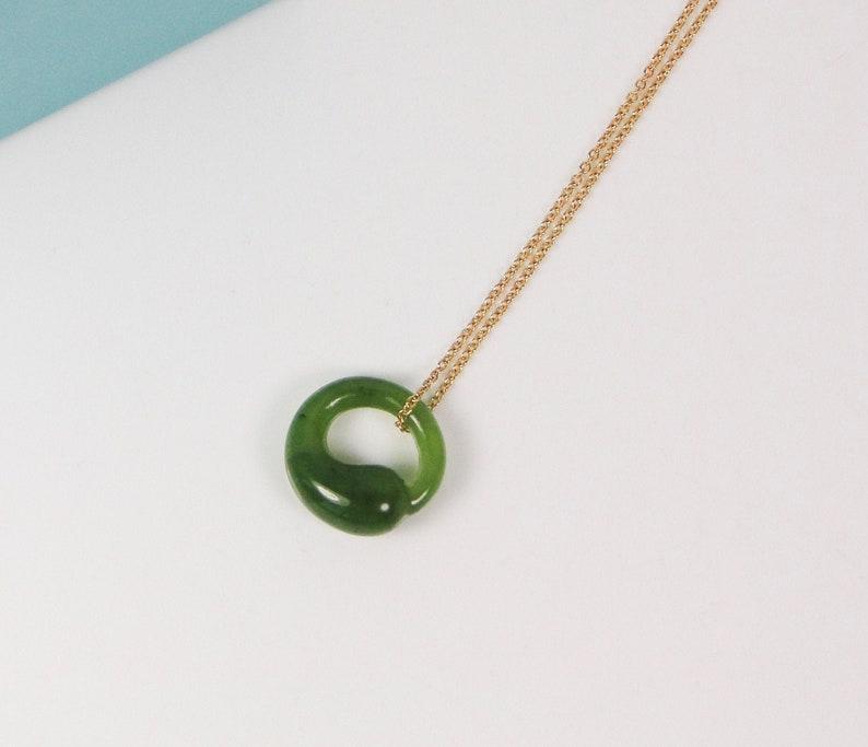 "e7c009401ae1e Tiffany & Co Peretti Green Jade Eternal Circle Necklace 18K 17"" Chain MINT"