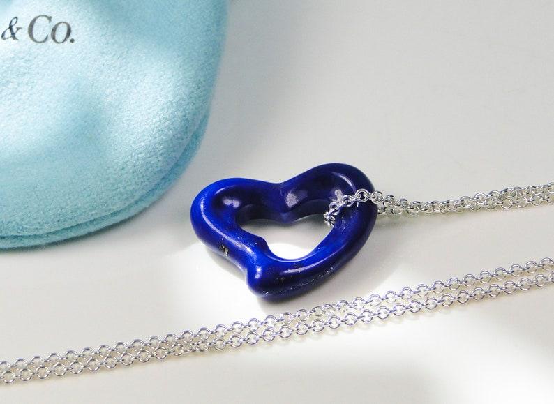 ebd008f0d9942 Tiffany & Co Peretti LARGE Lapis Open Heart Pendant Silver Chain RARE 23mm  Heart