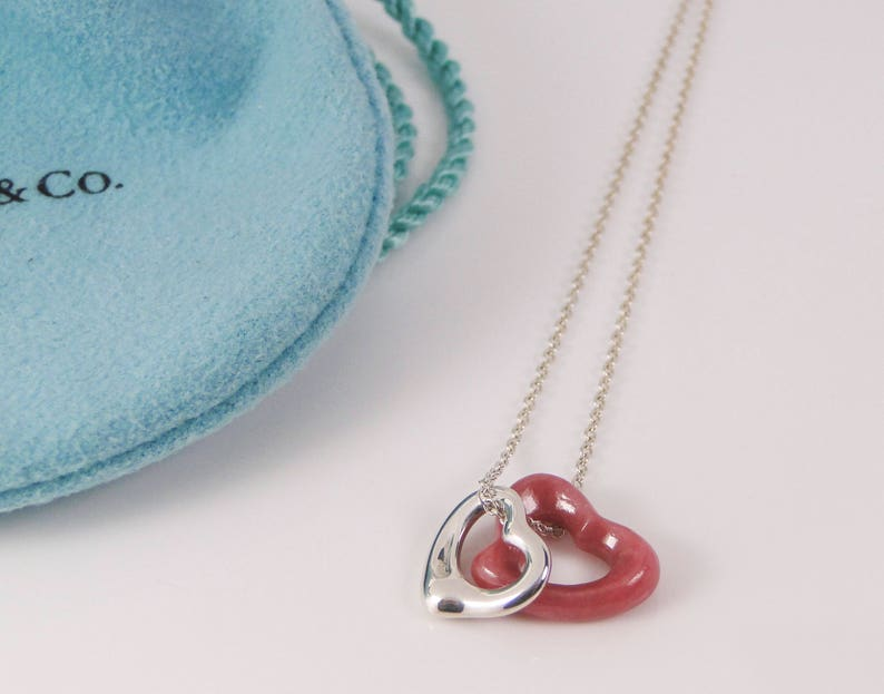 f637d4ca25d41 Tiffany & Co Elsa Peretti Pink Rhodonite and Silver Open Heart Pendant  Necklace- TWO Hearts