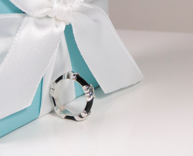 634f755cdc1ec Tiffany & Co. Signature X Black Enamel Ring Band MINT Size 4- Includes box