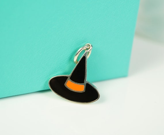 Tiffany & Co  Orange and Black Enamel Witch Hat Ch