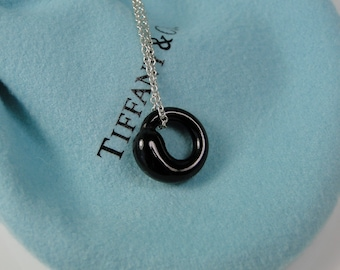 Tiffany & Co Peretti Black Jade Eternal Circle Sterling Necklace 18""