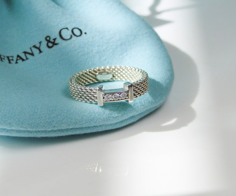 b40c67f69ad6b Tiffany & Co. Somerset Narrow Ring Band with Diamonds Ring- Size 4- Retired