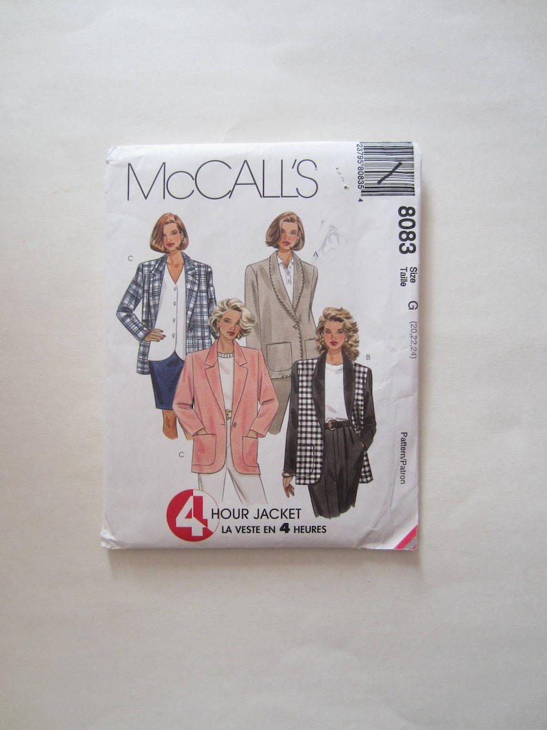 McCall/'s 5909 Misses/' Lined or Unlined Jacket   Sewing Pattern