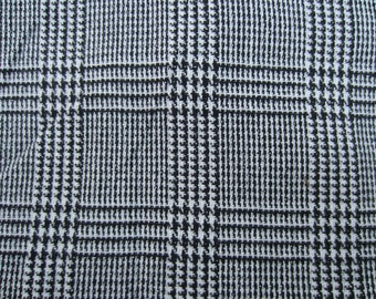"""Wool Black and White Plaid Fabric 60"""" wide with silver metallic thread"""