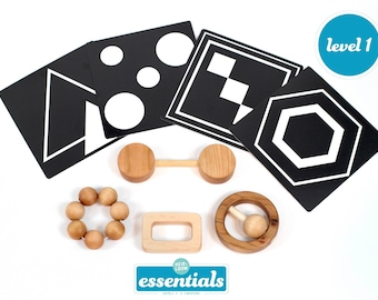 Montessori 0-4 Month Baby Set of 5 Toys -- Montessori Infant Set -- Black and White Cards, Wooden Rattles