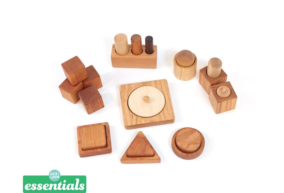 Montessori 8 12 Month Set of 9 Toys Montessori Infant Set Motor Development Set Pincer, Palmar, Ball and Cup, First Puzzles, Blocks