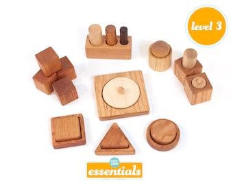 Montessori 8-12 Month Set of 9 Toys -- Montessori Infant Set -- Motor Development Set--Pincer, Palmar, Ball and Cup, First Puzzles, Blocks