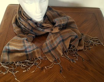 Soft Scarf Beige and Gray Black and Orange Plaid Dress Winter Scarf Cashmere Feel