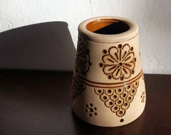 Unique Bohemian Hand Stamped Pottery Vase Rust and Cream Natural Clay