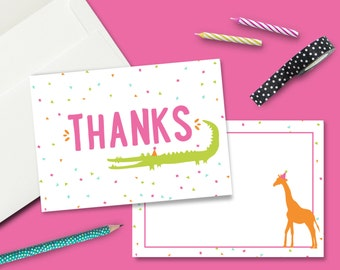 INSTANT DOWNLOAD - Zoo Party Thank You Card - Printable Double Sided Birthday Party Thank You Cards Custom Thank You Note Animal Card