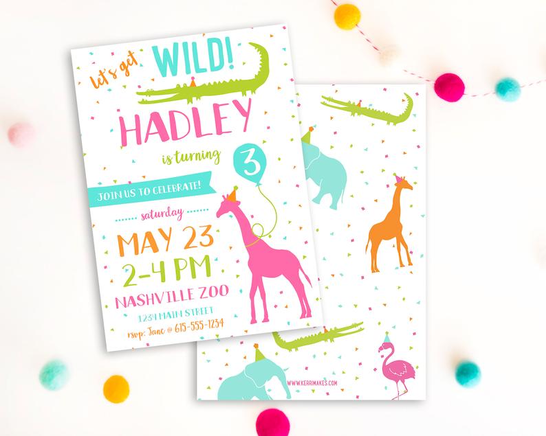 Girl Zoo Birthday Invitation