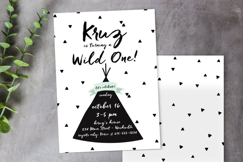 Wild One Teepee Birthday Invitation You Edit Yourself