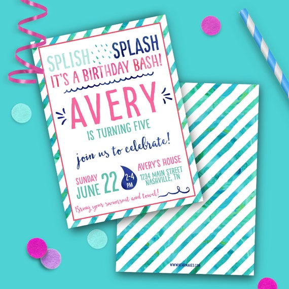 Swimming Pool Party Birthday Invitations You Edit The Text