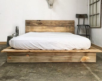 Ol  Weathered Plank Low Pro - Rustic Modern Platform Bed Frame and  Headboard - Loft Style - Solid Wood Handmade in USA b4ef40dfd