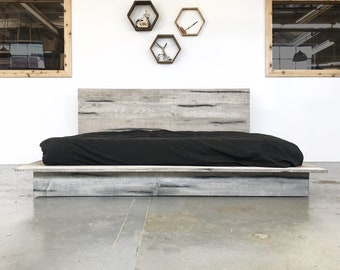 db875282b5 Rustic Modern Platform Bed Frame and Headboard - Boho Loft Style - Solid  Wood Handmade in USA - The Woodland