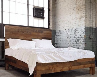 Original Aged Cedar Barn Wood Style Bed Frame U0026 Headboard Set   Handmade In  USA