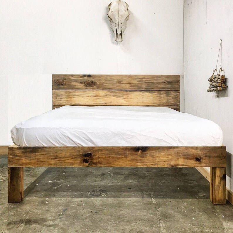 Plank Standing Platform Rustic Modern Platform Bed Frame And Headboard Solid Wood Handmade In Usa