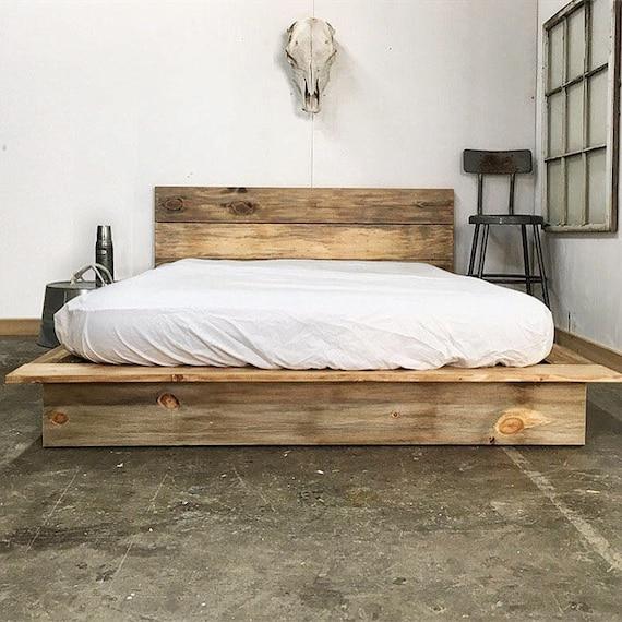 Delaware Solid Wood Platform Bed Frame: Ol' Weathered Plank Low Pro Rustic Modern Platform Bed