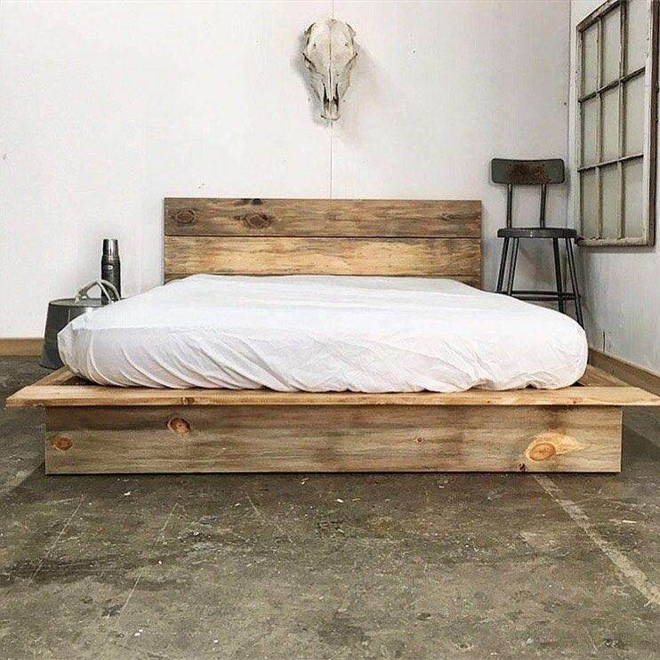 Modern Wood Bed Frames: Ol' Weathered Plank Low Pro Rustic Modern Platform Bed