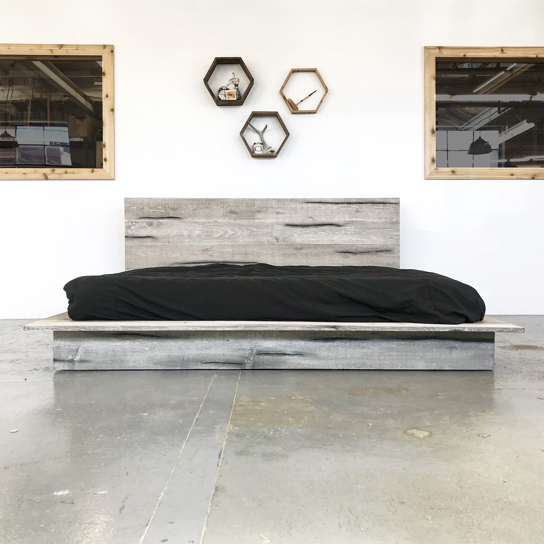 . Rustic Modern Platform Bed Frame and Headboard   Boho Loft Style   Solid  Wood Handmade in USA   The Woodland