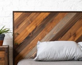 Rustic Chevron Headboard - Original Design - Modern Rustic - Handmade in USA
