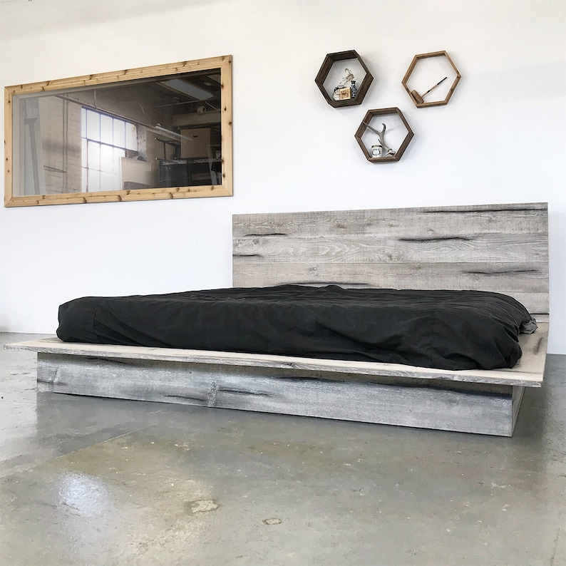 Rustic Modern Platform Bed Frame and Headboard Boho Loft ... on Modern Boho Bed Frame  id=29006