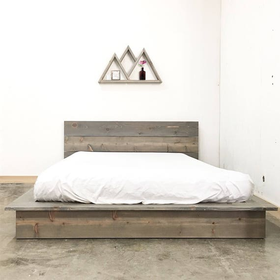 Low Pro Bed Rustic Modern Low Profile Platform Bed Frame And Etsy