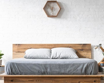 Low Pro Bed- Rustic Modern Low Profile Platform Bed Frame and Headboard - Loft Style - Solid Wood Handmade in USA