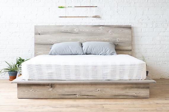 Rustic Modern Platform Bed Frame And Headboard Boho Loft Etsy