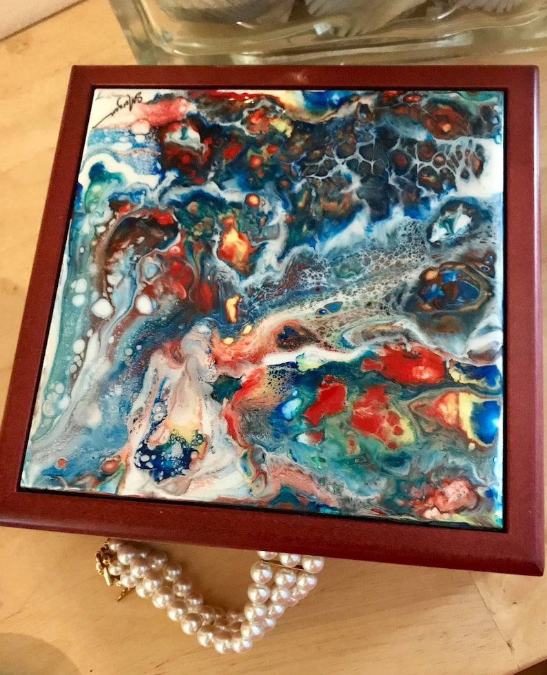 Rosewood Keepsake Gift or Jewelry Box with Poured Acrylic Tile