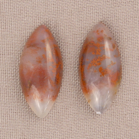 Red Moss Agate Cabochon Pair Oregon