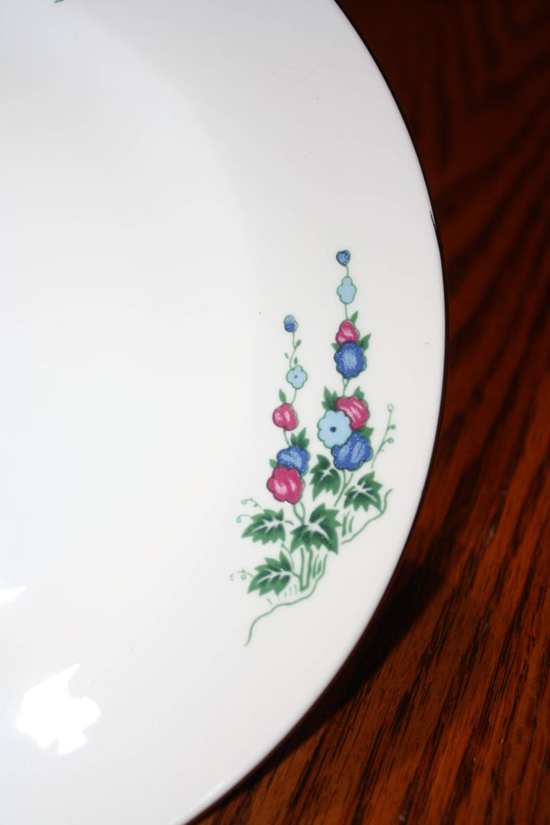 Crown Sterling Fine Bone China Plate Windsor Delphinium Pattern made in England