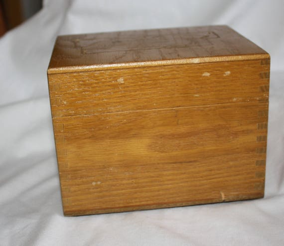 Vintage Artist Peters Wood Products Oak Box With Dovetail Joints Brass Hinges Dated 1963